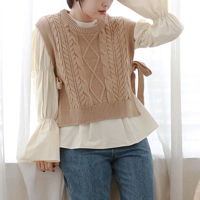 side ribbon knit vest[5356C]