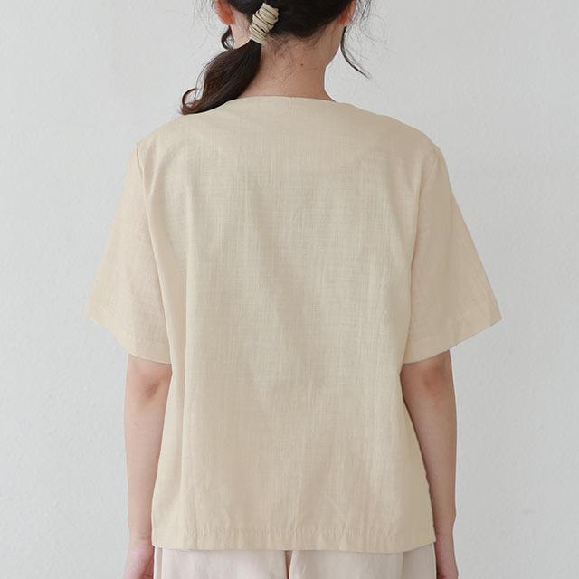 ノーカラーコットンシャツ[5571C]