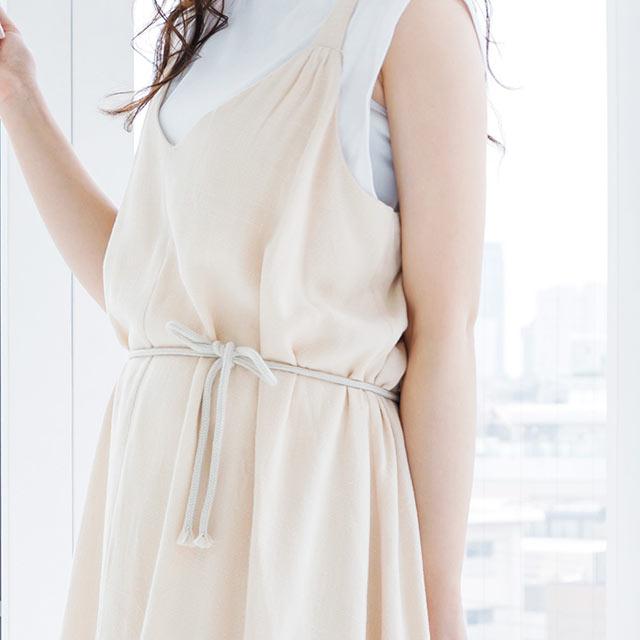 v-neck cami dress with rope belt[559E]