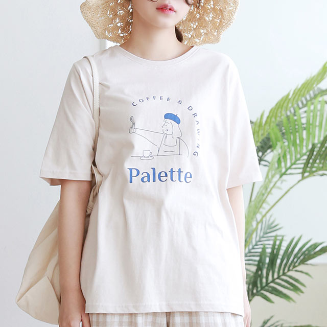 【8/1(sun)19:00〜】カフェイラストTシャツ[5619C]