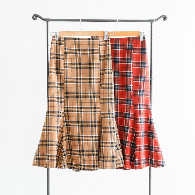 チェックマーメイドスカート(全2色)[565M]