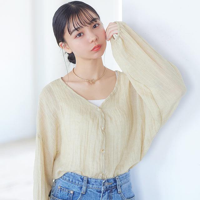 ノーカラーユルシャツ[5680C]