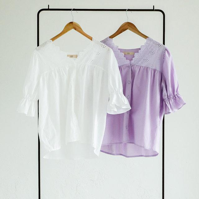 胸元カットワークバルーンスリーブブラウス(全2色)[582C]