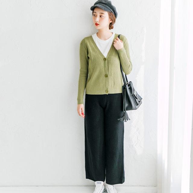 カシミア混ニットワイドパンツ(全3色)[589M]
