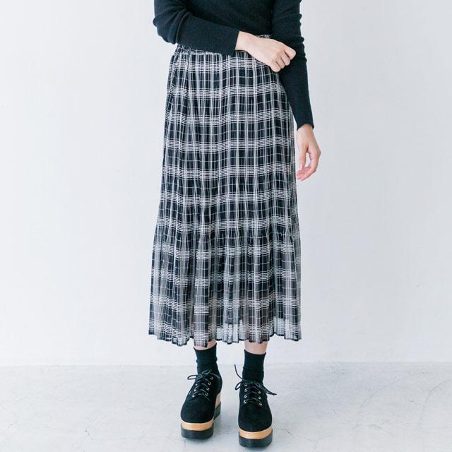 チェック柄プリーツスカート(全2色)[590M]