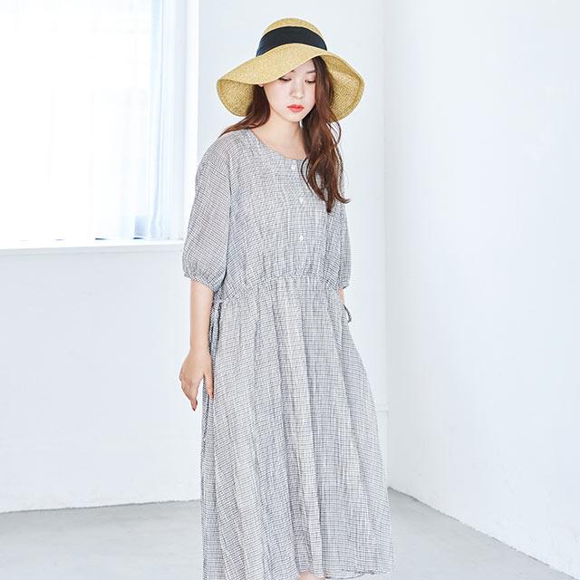 <Summer Sale!!>gauze check onepiece[596E]