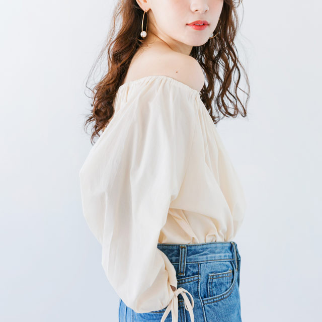 <Spring Sale>cuff ribbon blouse[614C]