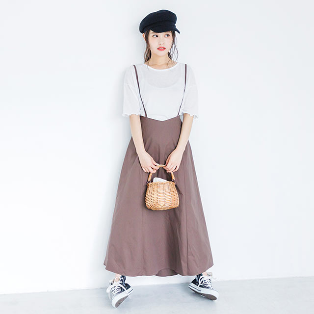 flared skirt with thin strap[616E]