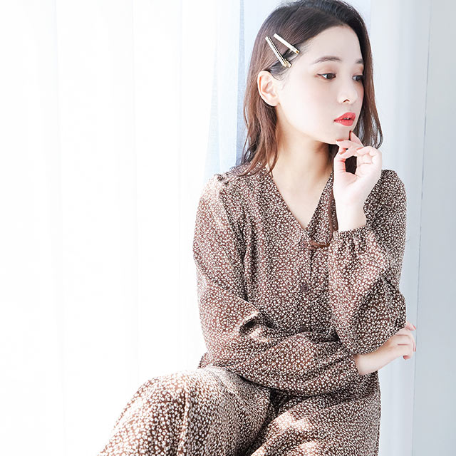 front button  flower onepiece [620E]
