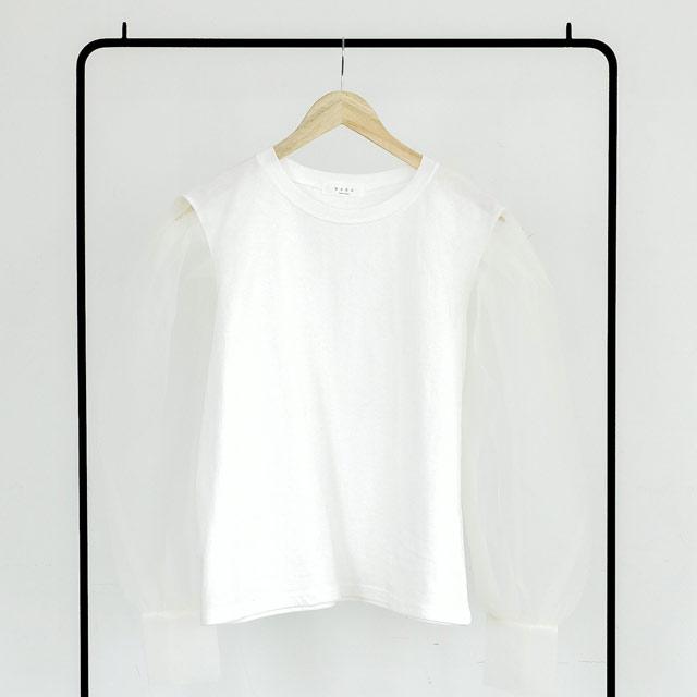 袖オーガンジートップス(全2色)[654C]