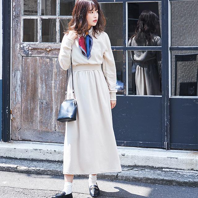 ≪村田倫子select≫ウエストマークスウェットワンピ(全1色)[656E]【10月下旬予約】