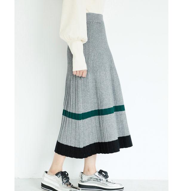 プリーツラインニットスカート(全3色)[679M]