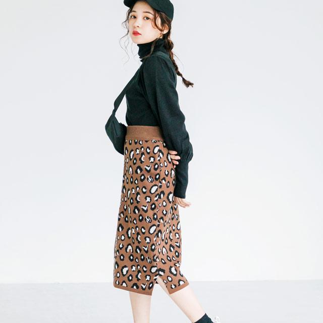 レオパード柄ニットタイトスカート(全2色)[680M]【入荷済】