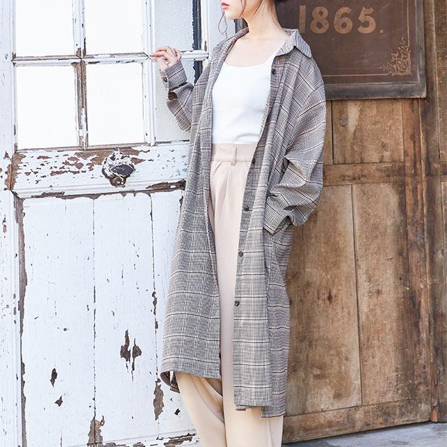 check overfit shirt onepiece[709E]