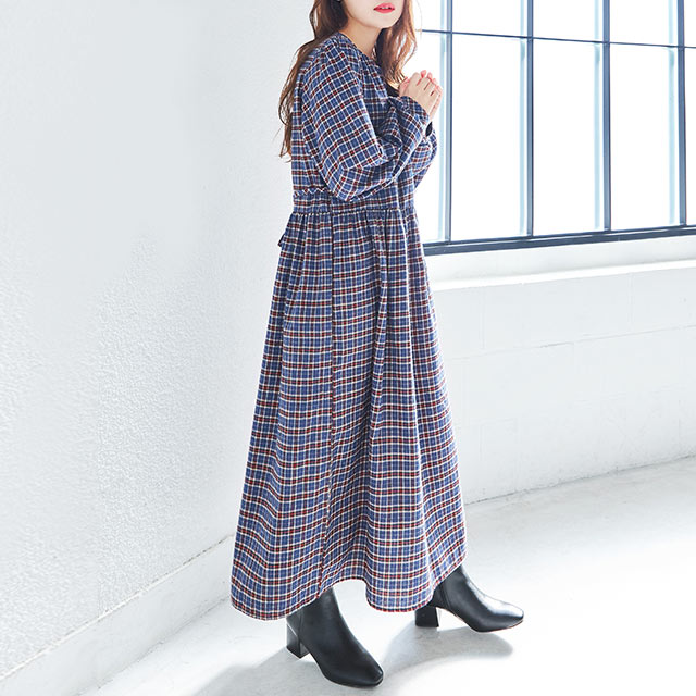 **rinko select**waist switching check onepiece[812E]