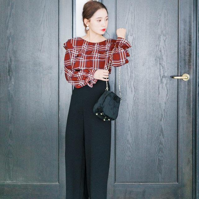 <FINAL SALE>w color plaid blouse[813C]