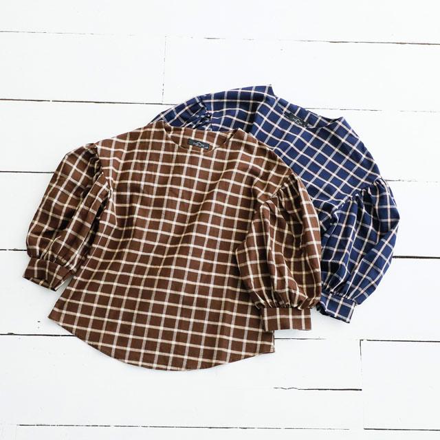 ≪CLEARANCE SALE≫バルーンスリーブチェック柄ブラウス(全2色)[814C]