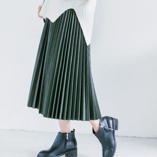 leather pleated skirt[816M]