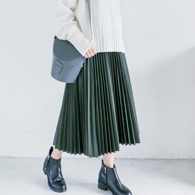 ≪WINTER SALE≫レザープリーツスカート(全2色)[816M]