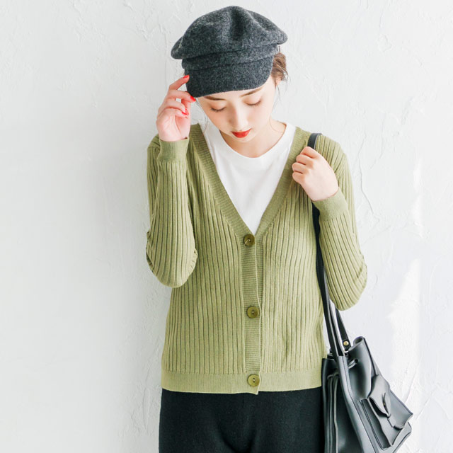 【MORE1月号掲載】リブニットカーディガン(全3色)[821C]