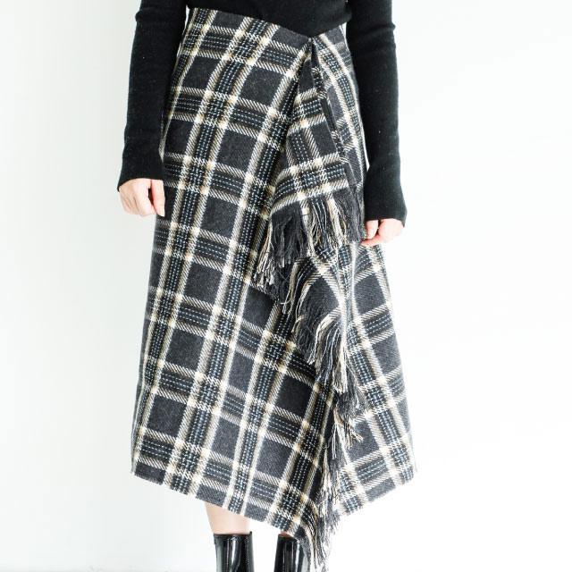 チェックフリンジスカート(全2色)[850M]