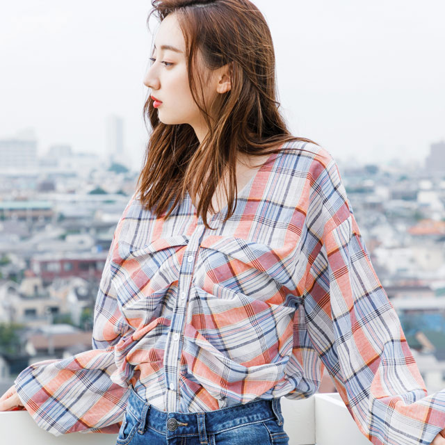 browsing check blouse[858C]