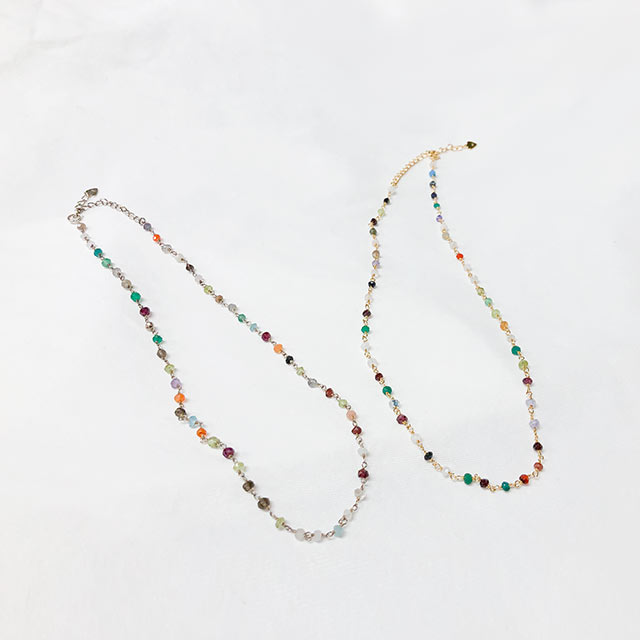 silver 925 beads point necklace[858J]