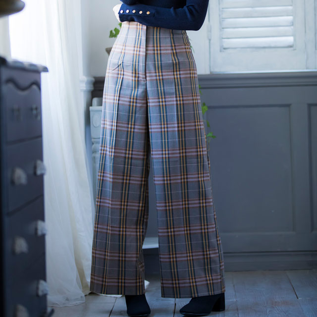 <bottom fair!!6/8(mon)am11:59まで>check high waist wide pants[865M]