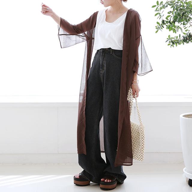 <Final Sale!!>sheer long cardigan[950K]