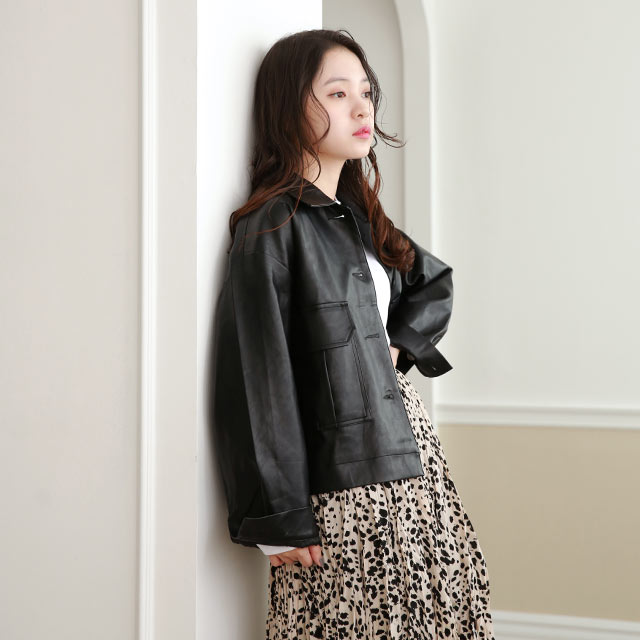 <FINAL SALE>fake leather short jacket[974K]