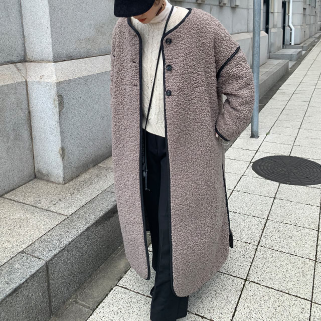 boa piping long coat[977K]