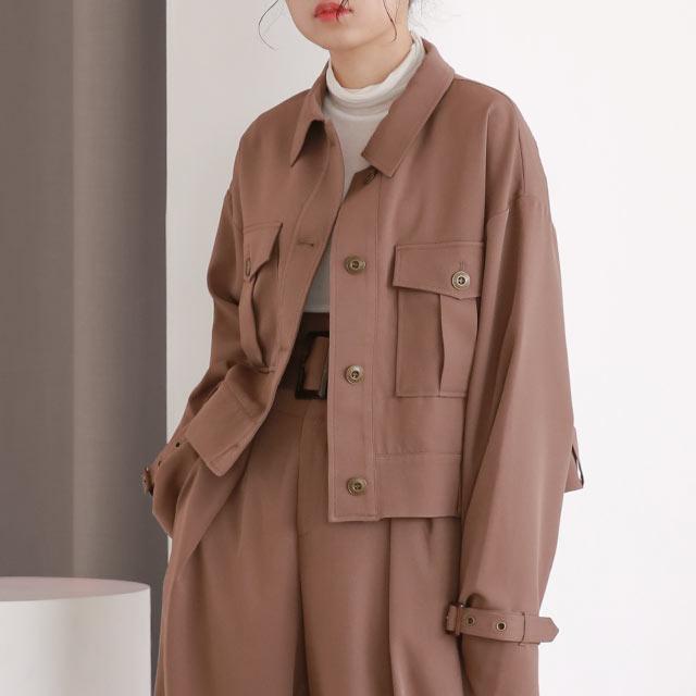 【Mayu Hotta × Isn't She?】belt point short jacket[978K]【12月上旬予約】